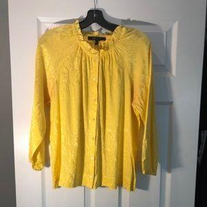 BCBG Maxazria yellow silk button down blouse
